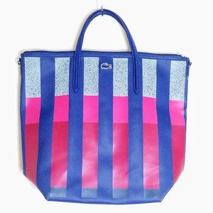 NWT Lacoste Vertical Stripe Tote Shopping Bag